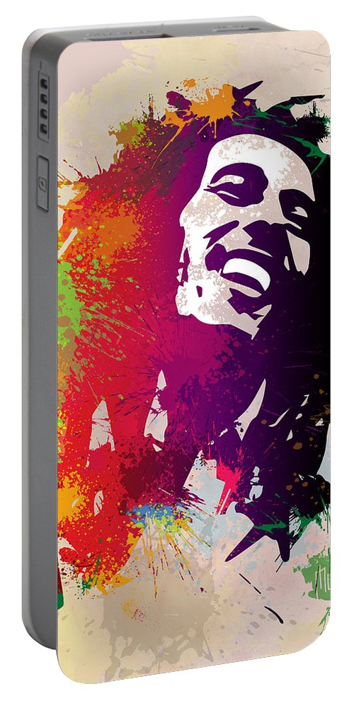 Reggae Portable Battery Charger featuring the painting Nesta Robert by Anthony Mwangi
