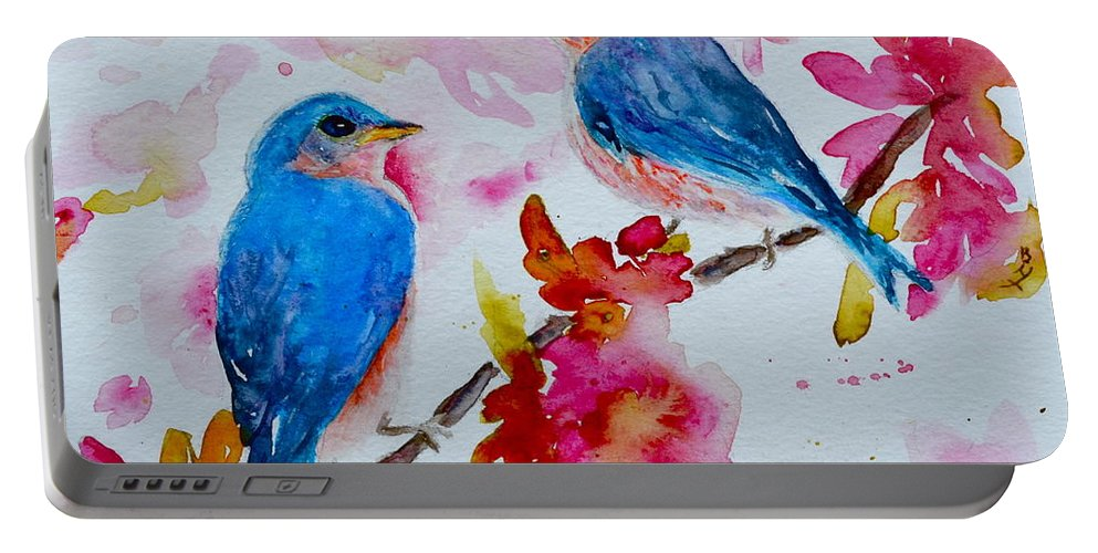 Bluebird Portable Battery Charger featuring the painting Nesting Pair by Beverley Harper Tinsley