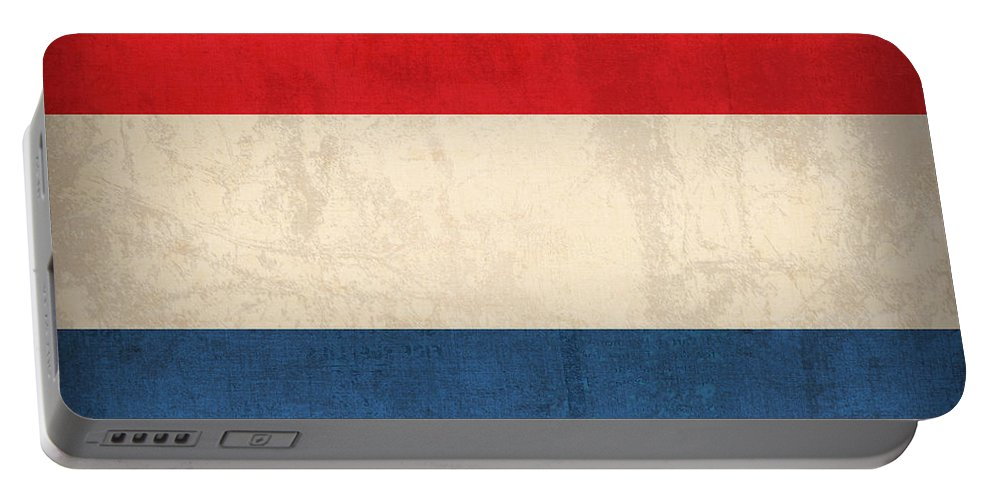 Netherlands Flag Vintage Distressed Finish Holland Europe Country Nation Dutch Portable Battery Charger featuring the mixed media Netherlands Flag Vintage Distressed Finish by Design Turnpike