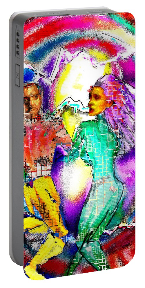 Neutron Portable Battery Charger featuring the digital art Neutron Dance by Seth Weaver