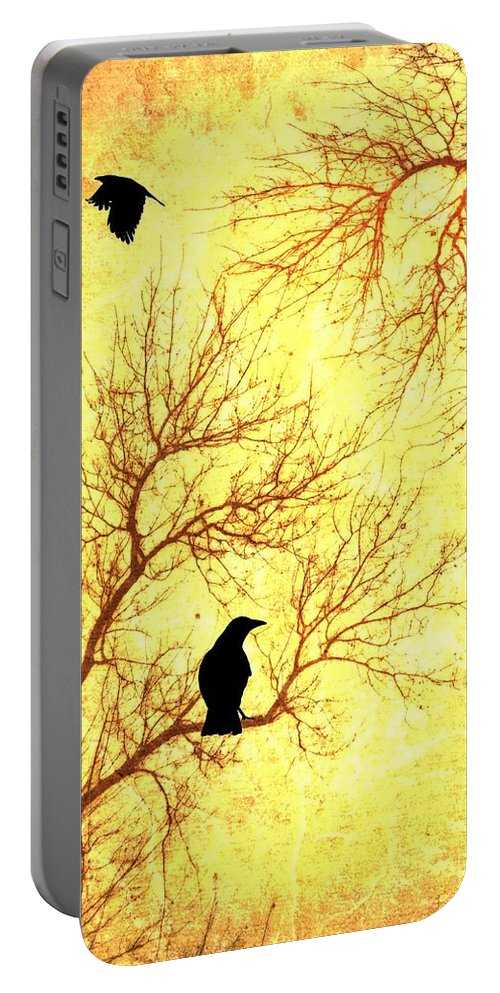 Nevermore Portable Battery Charger featuring the mixed media Nevermore by Dan Sproul
