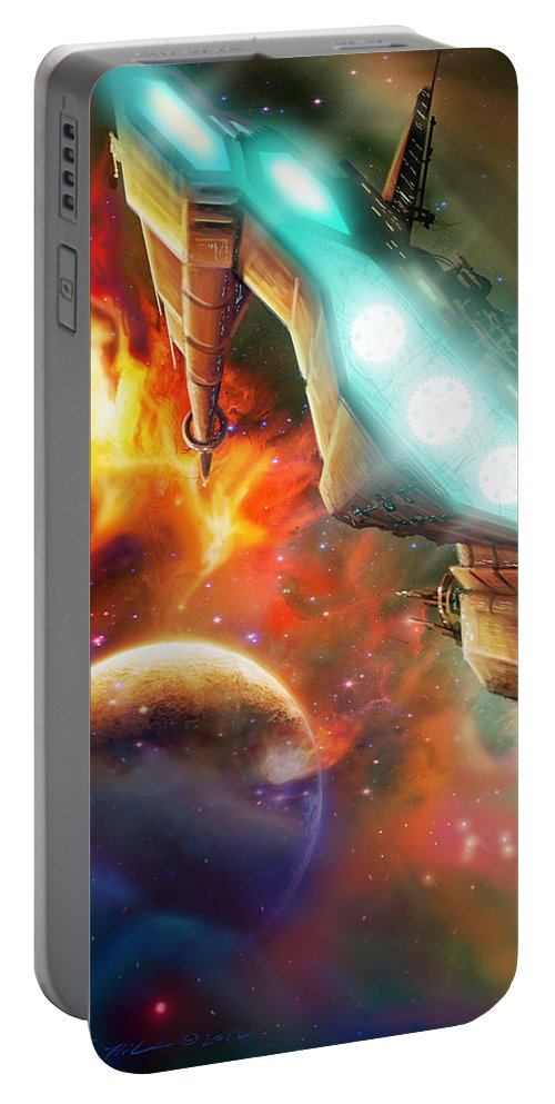 Starship Portable Battery Charger featuring the painting Nevtar Stardrive by James Christopher Hill
