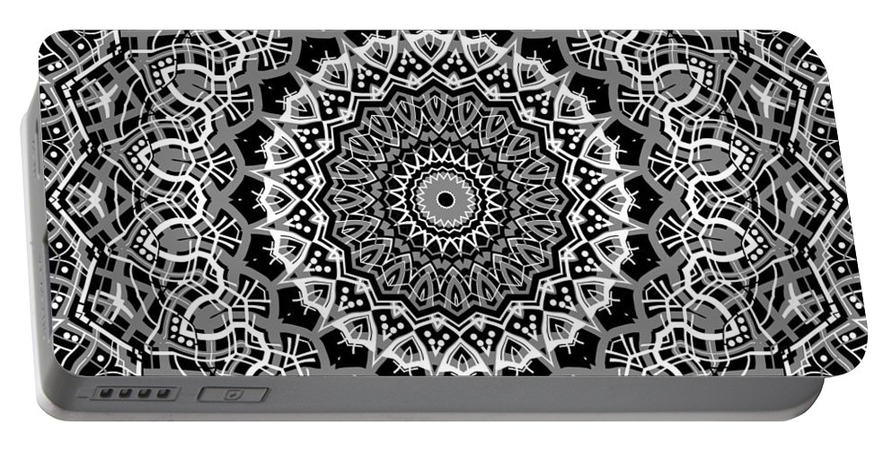 Mandala Portable Battery Charger featuring the digital art New Abstract Plaid Kaleidoscope by Joy McKenzie