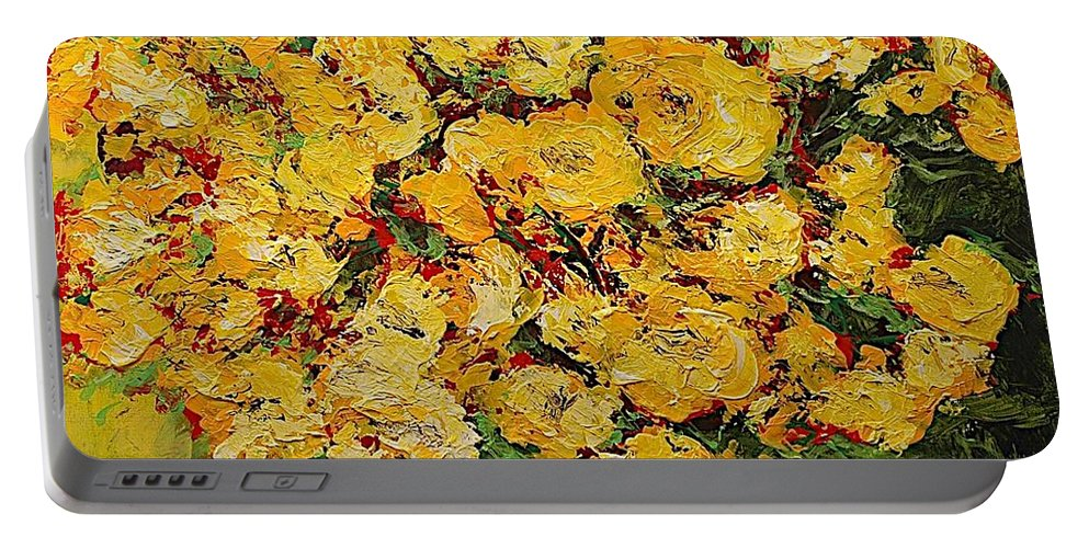 Landscape Portable Battery Charger featuring the painting New Beginnings by Allan P Friedlander
