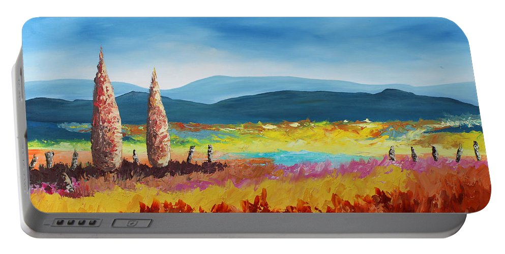 Landscape Portable Battery Charger featuring the painting New Land by Andrew Sanan