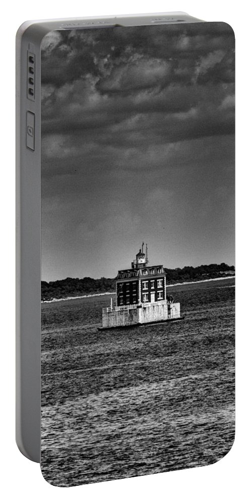 Joshua House Photography Portable Battery Charger featuring the photograph New London Shelf Light Black And White by Joshua House