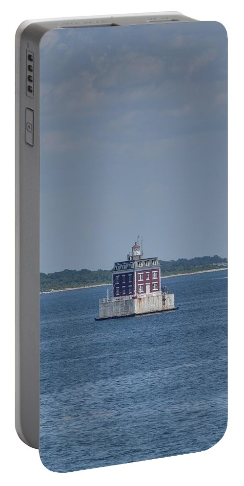 Joshua House Photography Portable Battery Charger featuring the photograph New London Shelf Light by Joshua House