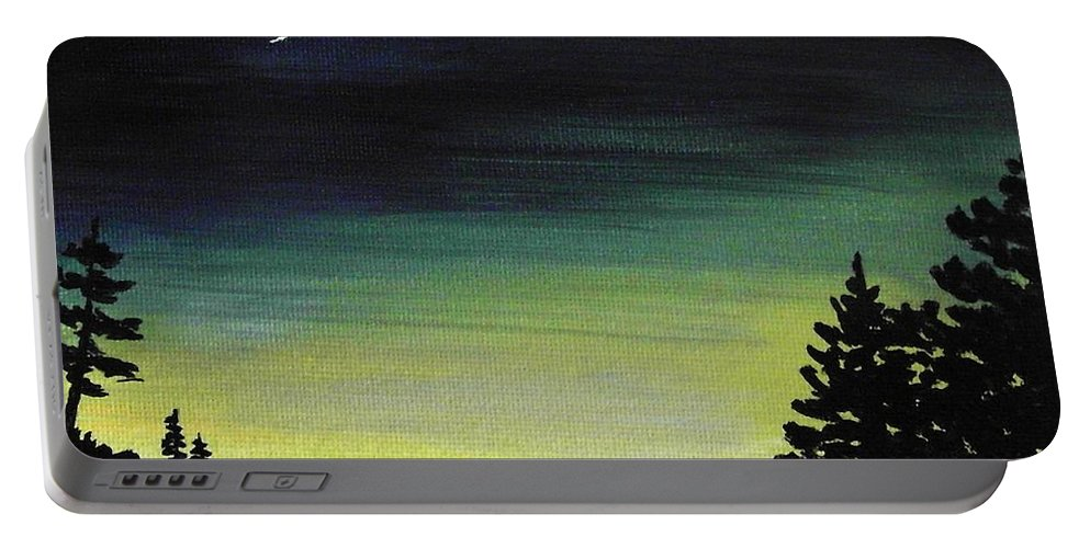 Moon Portable Battery Charger featuring the painting New Moon by Anastasiya Malakhova