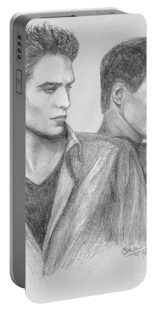 Edward Portable Battery Charger featuring the drawing New Moon by Christine Jepsen