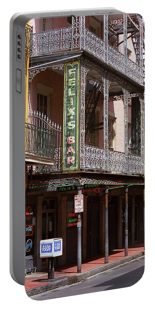 America Portable Battery Charger featuring the photograph New Orleans - Bourbon Street 10 by Frank Romeo