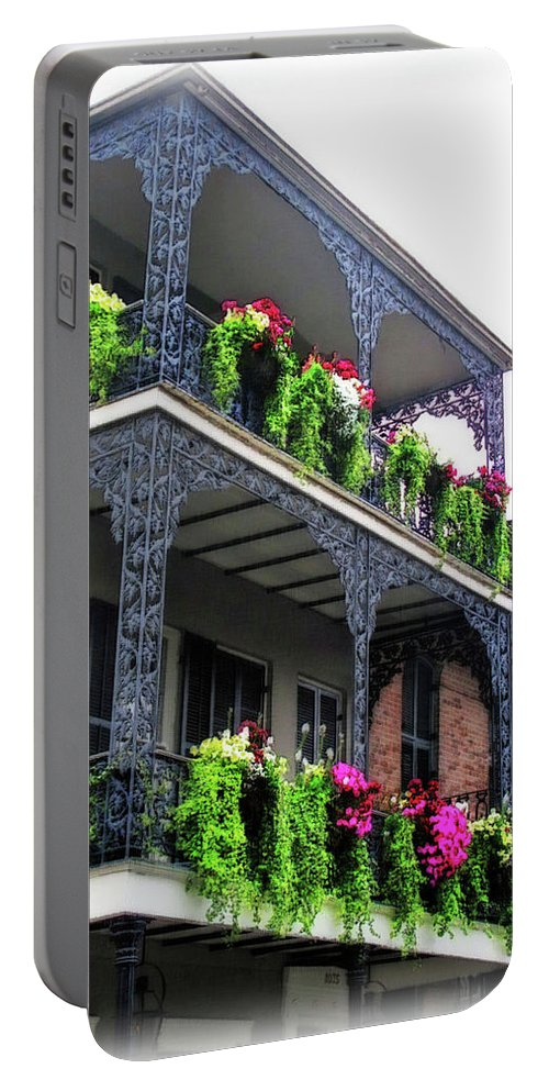 Botanical Portable Battery Charger featuring the digital art New Orleans Porches by Joan Minchak