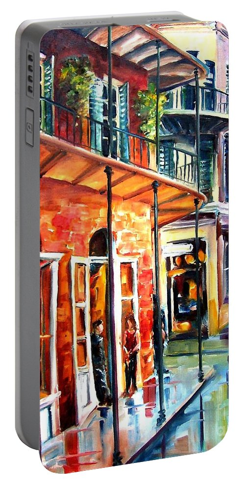 New Orleans Portable Battery Charger featuring the painting New Orleans Rainy Day by Diane Millsap