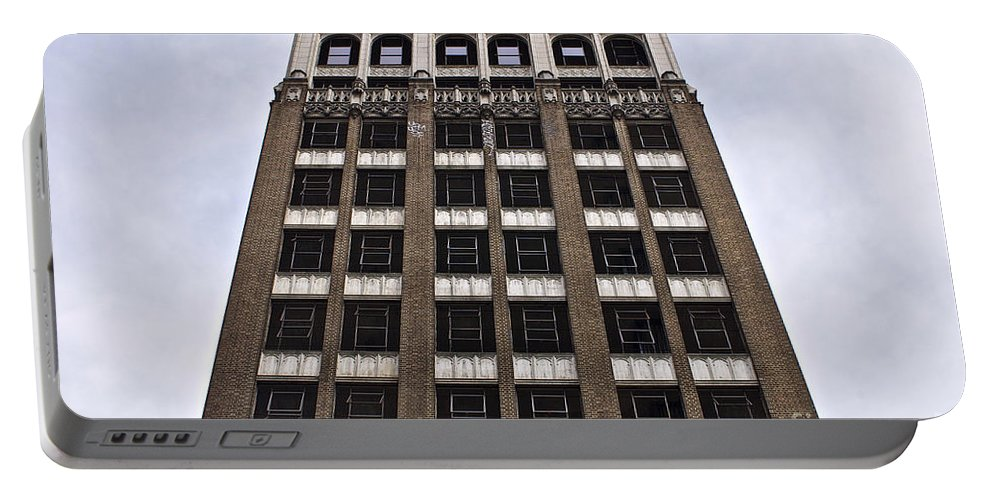 Fire Portable Battery Charger featuring the photograph Vacant Downtown Building Los Angeles 3 by Toula Mavridou-Messer