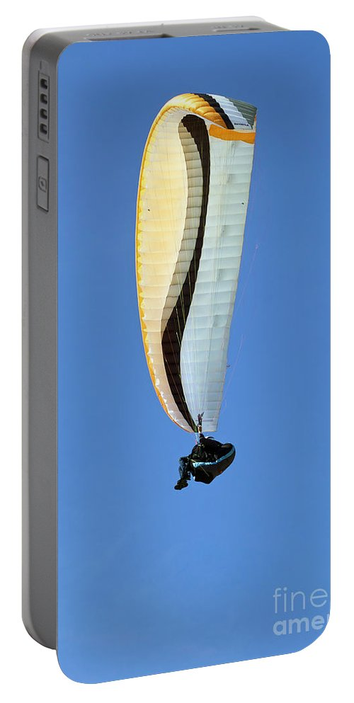 One Portable Battery Charger featuring the photograph New Photographic Art Print For Sale Hanggliding 4 by Toula Mavridou-Messer