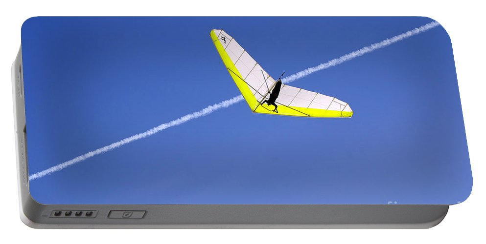 One Portable Battery Charger featuring the photograph New Photographic Art Print For Sale Hanggliding 7 by Toula Mavridou-Messer