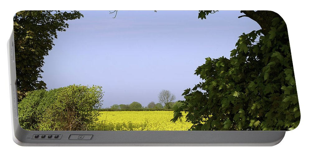 Nature Portable Battery Charger featuring the photograph New Photographic Art Print For Sale Yellow English Fields 3 by Toula Mavridou-Messer