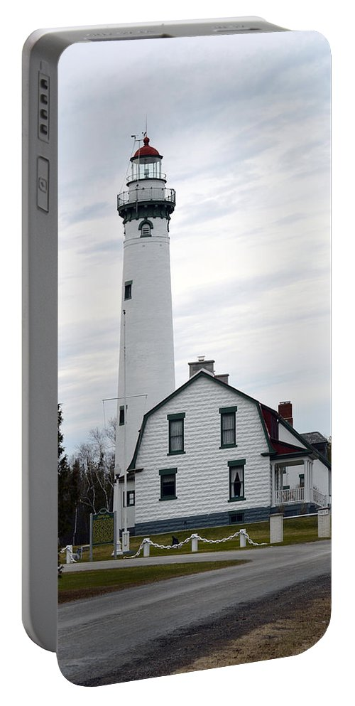 Presque Isle Portable Battery Charger featuring the photograph New Presque Isle Lighthouse by Linda Kerkau