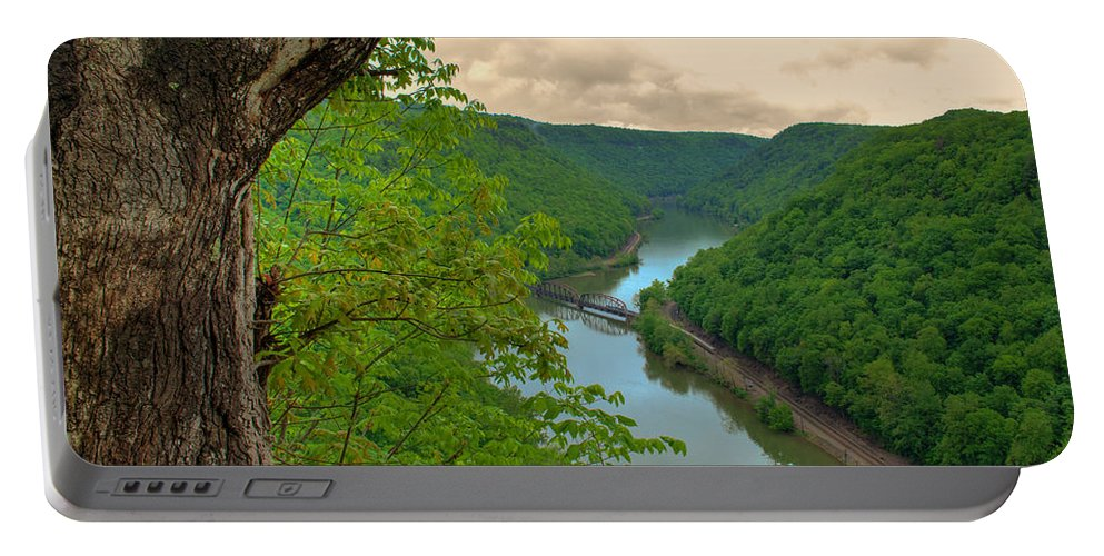 Featured Art Portable Battery Charger featuring the photograph New River Railroad Bridge At Hawk's Nest by Paulette B Wright