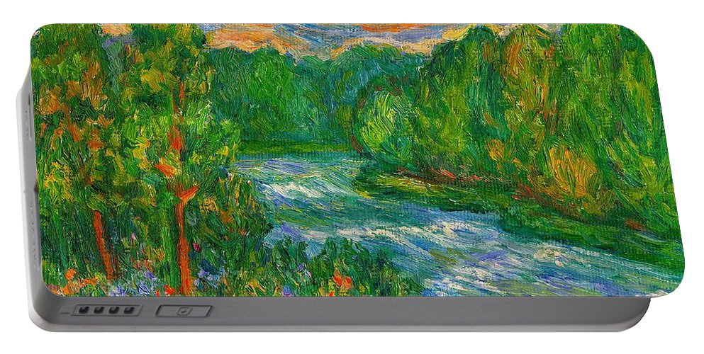 River Portable Battery Charger featuring the painting New River Rush by Kendall Kessler
