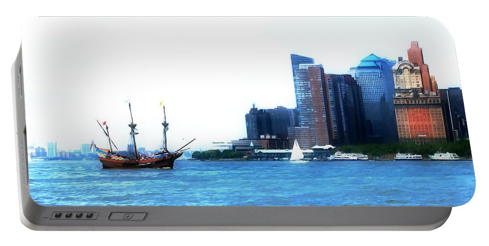 New Portable Battery Charger featuring the painting New York 4 by Jeelan Clark