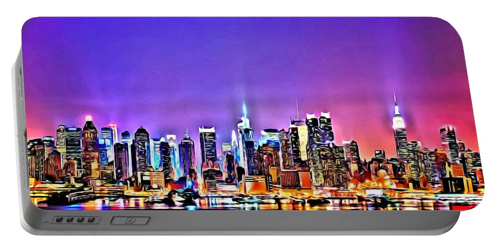 Black Portable Battery Charger featuring the painting New York At Night by Florian Rodarte