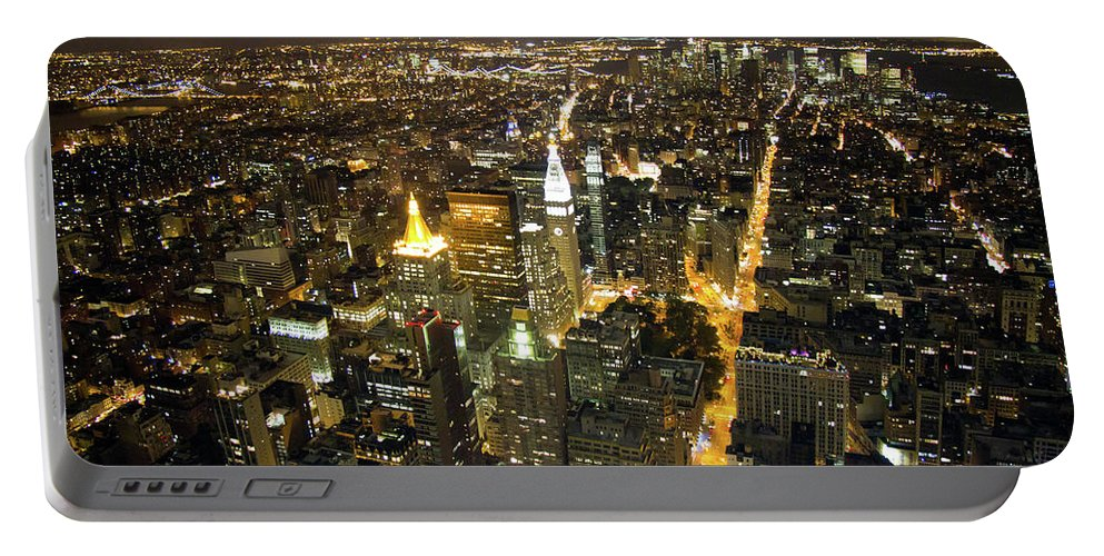 New York Portable Battery Charger featuring the photograph New York By Night by Bill Lindsay