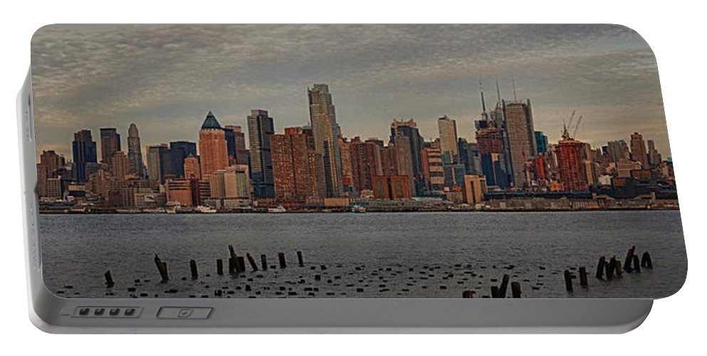 America Portable Battery Charger featuring the photograph New York City Skyline Panoramic by Susan Candelario