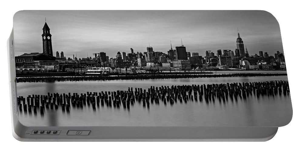 Esb Portable Battery Charger featuring the photograph New York City Skyline Stillness Bw by Susan Candelario