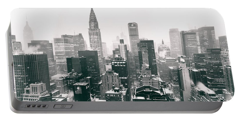 Nyc Portable Battery Charger featuring the photograph New York City - Snow-covered Skyline by Vivienne Gucwa