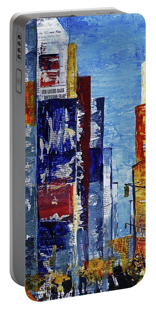 York Portable Battery Charger featuring the mixed media New York Dreams by Cindy Johnston