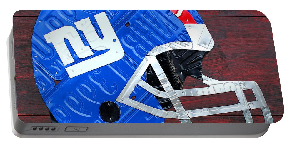 New Portable Battery Charger featuring the mixed media New York Giants Nfl Football Helmet License Plate Art by Design Turnpike