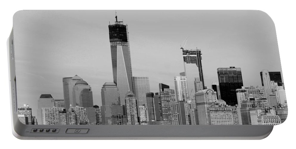 Harbor Portable Battery Charger featuring the photograph New York Harbor In Black And White by Rob Hans