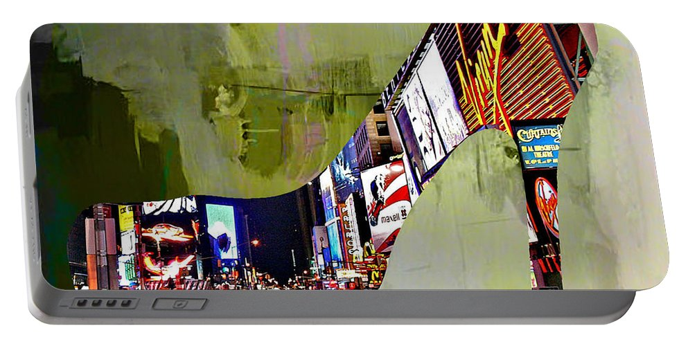 New York Digital Art Mixed Media Portable Battery Charger featuring the mixed media New York In A Shoe by Marvin Blaine