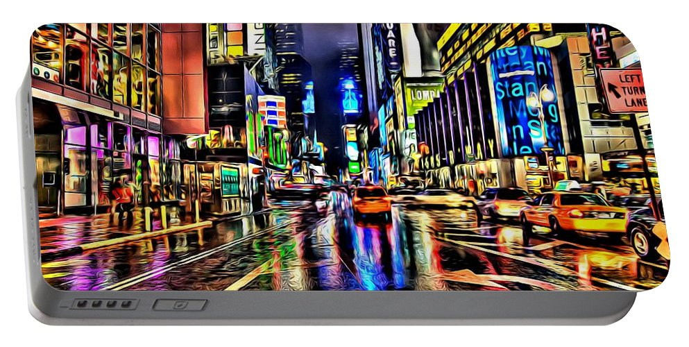 Black Portable Battery Charger featuring the painting New York Lights In Rain by Florian Rodarte