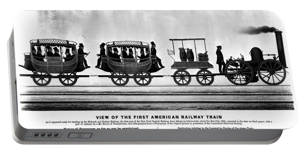 1832 Portable Battery Charger featuring the painting New York Railroad, 1832 by Granger