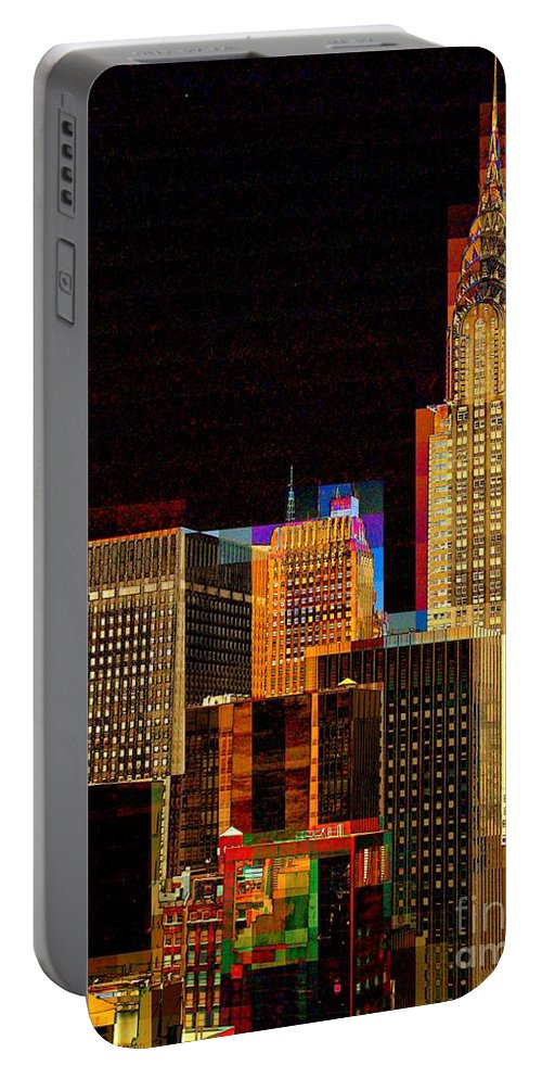 New York Portable Battery Charger featuring the photograph New York City Skyline At Night by Miriam Danar