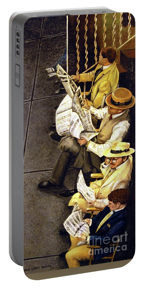 Newspaper Portable Battery Charger featuring the painting New York Times by Linda Simon