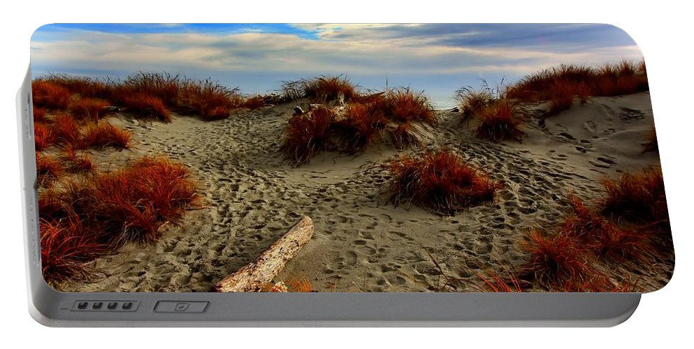 Footprints Portable Battery Charger featuring the photograph New Zealand Beach by Amanda Stadther
