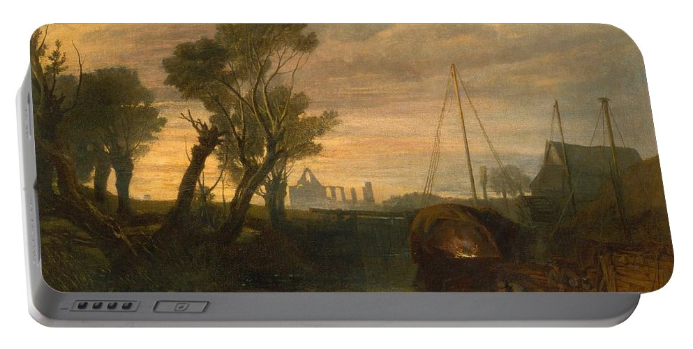 1806 Portable Battery Charger featuring the painting Newark Abbey by JMW Turner