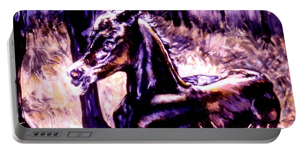Newborn Foal Portable Battery Charger featuring the painting Newborn Foal by Stan Esson