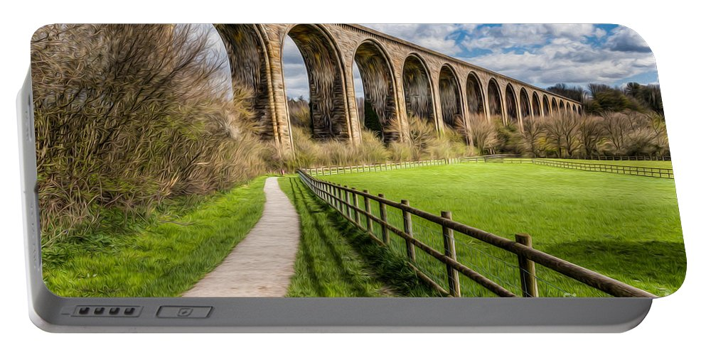 Arch Portable Battery Charger featuring the photograph Newbridge Rail Viaduct by Adrian Evans