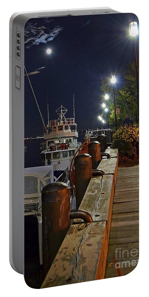 Newburyport Portable Battery Charger featuring the photograph Newburyport Docks Full Moon by Anne Clark