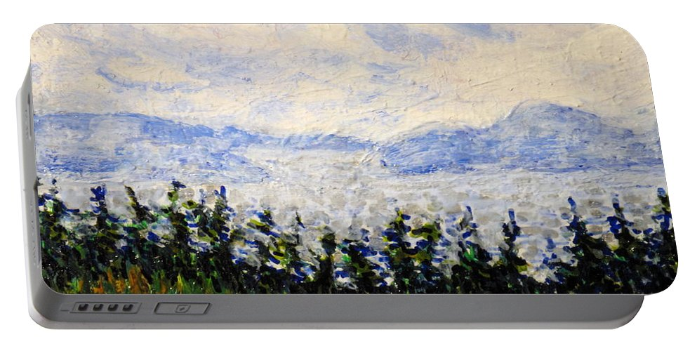 Newfoundland Portable Battery Charger featuring the painting Newfoundland Up The West Coast by Ian MacDonald