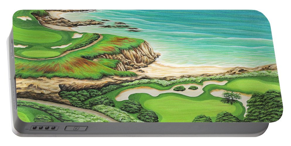 Ocean Portable Battery Charger featuring the painting Newport Coast by Jane Girardot