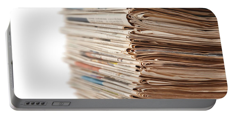 Newspaper Portable Battery Charger featuring the photograph Newspaper Stack by Chevy Fleet
