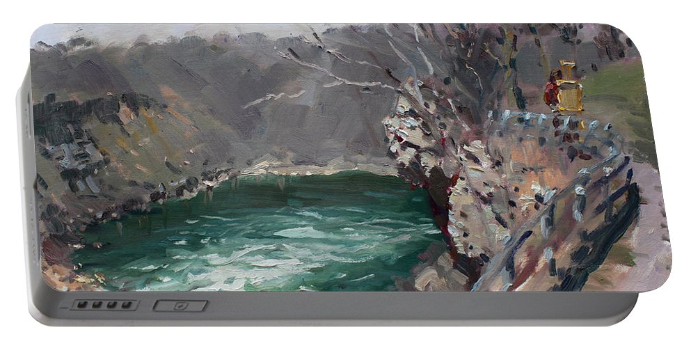 Niagara Gorge Portable Battery Charger featuring the painting Niagara Falls Gorge by Ylli Haruni