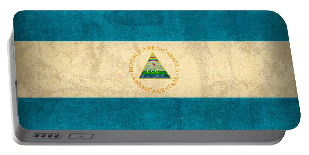 Nicaragua Portable Battery Charger featuring the mixed media Nicaragua Flag Vintage Distressed Finish by Design Turnpike