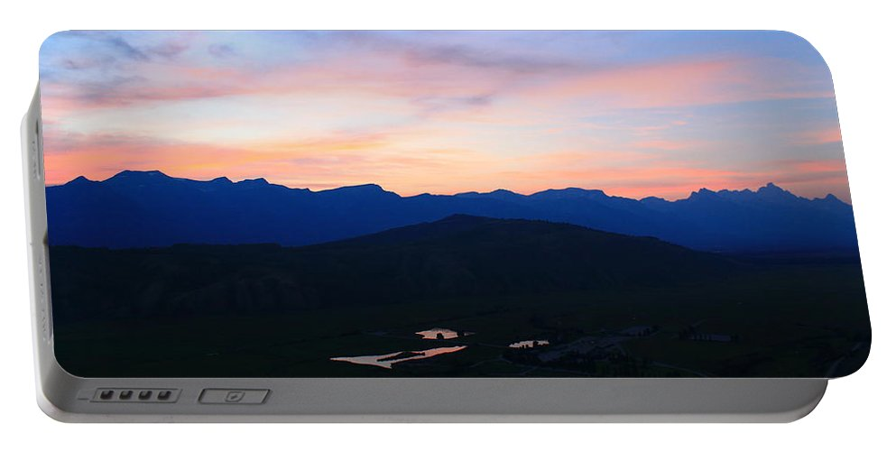 Sunset Portable Battery Charger featuring the photograph Night At The Tetons by Catie Canetti
