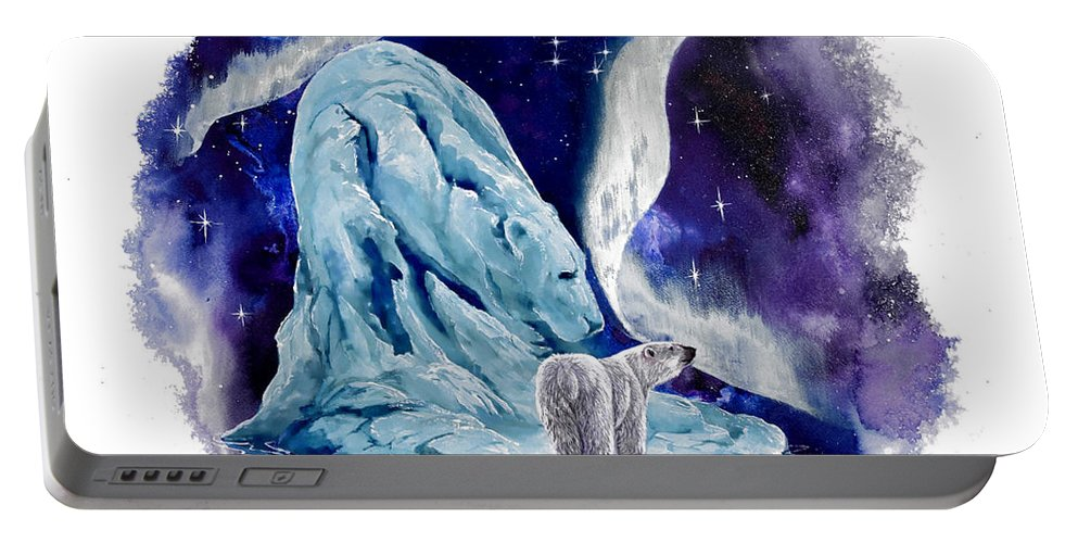 Polar Bear Portable Battery Charger featuring the painting Night Bear by Sherry Shipley
