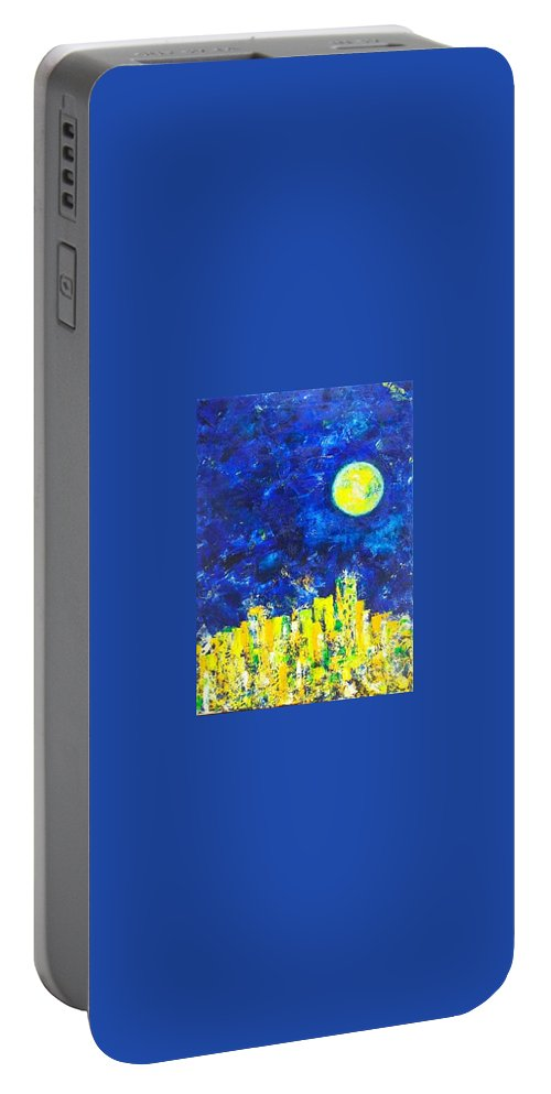 Sky Portable Battery Charger featuring the painting Night City by Olya Me